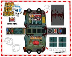 Zombie food truck paper art craft from Paper Taco Trucks.