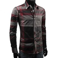 Korean Men's Mixed Plaid Shirt. $34.00. #fashion #men #shirts