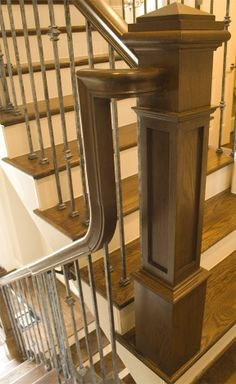 Plain Square Bar Ends: Sq. balusters Shoes: The Versatile iron baluster features a plain square bar. This baluster is solid wrought iron and is square. Staircase Remodel, Staircase Railings, Stairways, Handrail Ideas, Staircase Storage, Staircase Makeover, Bannister, Cheap Stair Parts, Parts Of Stairs