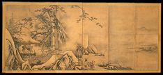 The Four Accomplishments Artist: Kano Motonobu (Japan, ca. 1476–1559) Period: Muromachi period (1392–1573) Date: mid-16th century Culture: Japan Medium: Pair of six-panel folding screens; ink and color on paper