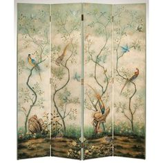 Decorative Crafts Four Panel Hand Painted Screen 3171 features a hand-painted wood screen with floral and bird motif. The back is solid black.