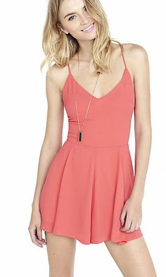 strappy lace-up back romper