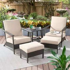 Better Homes & Gardens Emeryville Chat Set with Beige Cushions, Brown Outdoor Chairs, Outdoor Furniture Sets, Outdoor Decor, Furniture Ideas, Furniture Layout, Furniture Design, Furniture Stores, Balcony Furniture, Outdoor Retreat