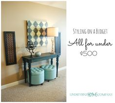 Budget Decorating, Storage Ottomans, Mercury Lamp, painted console table, carved panels, styling