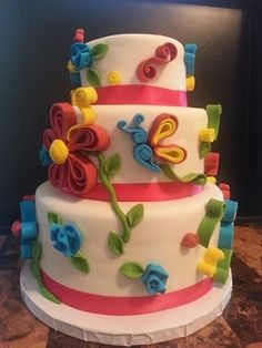 Colorful spring birthday cake Cake and cupcakes Pinterest