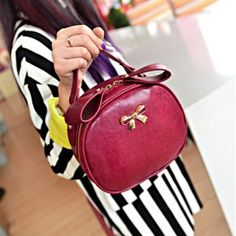 USD9.49Fashion Women Solid Bowknot Zipper Wine Red PU Shoulder Bag