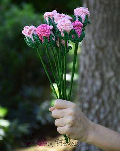 Handmade rose bouquet crochet pink rose handmade flowers for