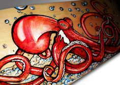 Fiesty Waters Red Octopus Skateboard Painting