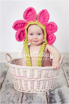 Easter spring flower hat bonnet Photography prop by danettekay Spring Photography, Toddler Photography, Photography Props, Crochet Crafts, Yarn Crafts, Crochet Projects, Crochet Costumes, Easter Pictures, Flower Hats