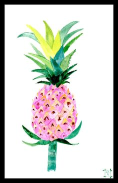 Watercolor pink pineapple print decor prints by zuhalkanar on Etsy