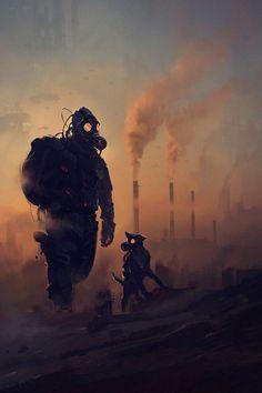 Post apocalyptic survivor with his dog Post Apocalypse, Apocalypse World, Nuclear Apocalypse, Gas Mask Art, Masks Art, Gas Masks, Cyberpunk, Dark Fantasy, Fantasy Art
