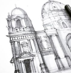 Adding details with light gray Copic fineliner Copic, Marker, Sketching, Design Art, Cathedral, Berlin, Artsy, Pencil, Architecture