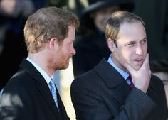 Prince William, Duke of Cambridge and Prince Harry leave the Christmas Day service at Sandringham on December 25, 2013 in King's Lynn, England.