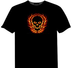 Flaming Skull Light Up LED Shirt