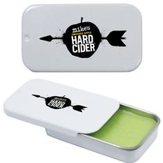 This innovative Slider Tin comes filled with our USA made premium lip balm and is printed with a 4-color process laminated decal or a 1-color direct imprint. Price includes regular lip balm in a white tin with a one color direct imprint or four color laminated decal.  1000 unit minimum for other lip balm colors, flavors, or tin colors.