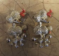 VTG SILVER ENAMEL PAINTED FRENCH POODLE DOG SCATTER PINS BROOCH PAIR SET 1950'S