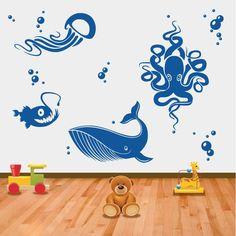 Criaturas dos Oceanosem vinil autocolante decorativo de parede. Aplique esta imagem em qualquer superfície lisa (paredes, portas, janelas, mobílias, chuveiro de casa de banho, etc.