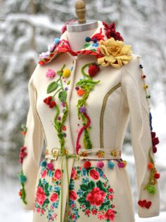 Bohemian floral romantic sweater COAT Art to wear by amberstudios
