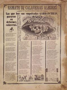 """""""Las que hoy son empolvadas garbanceras, pararán en deformes calaveras"""" Caricatura de la Catrina, José Guadalupe Posada (1913)"""