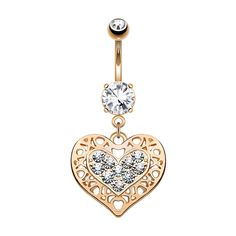 Kugel, Messing, Belly Button Rings, Gold, Jewelry, Banana, Belly Ring Piercing, Crystals, Heart