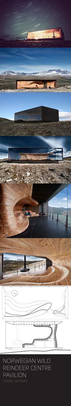 https://goo.gl/maps/tbOEB -- Stunning architecture meets stunning natural beauty at the Norwegian Wild Reindeer Centre Pavilion. Located in Dovrefjell National Park, this Snøhetta-designed building features floor-to-ceiling windows.