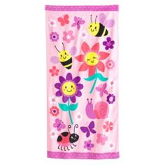 Jumping Beans Happy Flowers, Bees, Snails, Ladybug Beach Towel