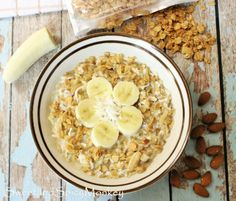 An easy and healthy way to start your day with my Overnight Hot Peanut Butter & Banana Granola. Recipe here ~ http://sweetandspicymonkey.blogspot.com/2015/06/overnight-hot-peanut-butter-banana.html #glutenfreerecipes   #Goldengirlgranola   #challenge   #healthy   #breakfast