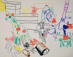 """""""ANSAMMLUNG VON WELT"""", 2012 Filzstift auf Leinwand, 40 x 50 cm Collection, Canvas, World"""