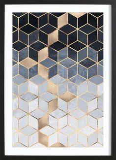Soft Blue Gradient Cubes - Elisabeth Fredriksson - Poster in houten lijst