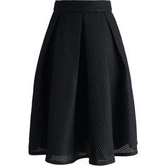 Chicwish Black Waffle Pleated Midi Skirt ($45) ❤ liked on Polyvore featuring skirts, black, knee length pleated skirt, pleated skirt, midi skirt, calf length skirts и mid-calf skirt