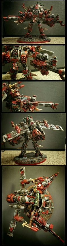 Ork Fleetboss. Dreadknight conversion. This is the leader of my Battlefleet Gothic ork pirate fleet in Warhammer 40K. In personal combat he continues the fleet ethos of more bigger guns and a distaste for walking.