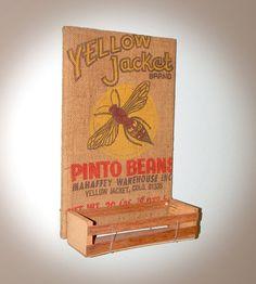 Unique Repurposed Yellow Jacket Burlap Sack Bulletin by j3decor, $63.00