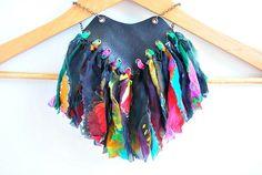 Black Leather Tribal Necklace, Bib Statement Jewellery, Amazon Warrior, Bohemian Gypsy, Rainbow