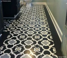 Black and White Floor Stenciled Room - Chez Ali Moroccan Wall Stencils for Painting - Royal Design Studio