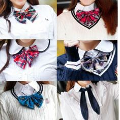 Japanese School Girls Uniform Fashion Checked Bow-tie Cosplay Accessory