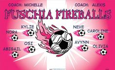 Fuschia Fireballs B54459  digitally printed vinyl soccer sports team banner. Made in the USA and shipped fast by BannersUSA.  You can easily create a similar banner using our Live Designer where you can manipulate ALL of the elements of ANY template.  You can change colors, add/change/remove text and graphics and resize the elements of your design, making it completely your own creation.