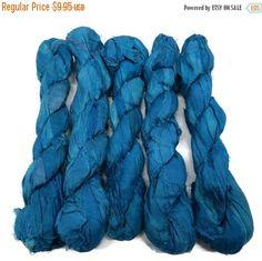 SALE NEW! Premium Sari Silk Ribbon, Cadet Blue