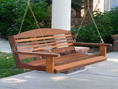 Wood Porch Swing : Wood Porch Swing With Yellow Chain – Bloombety