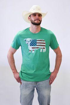 93486b102a0400 Lazy J Green American Flag Short Sleeve T-Shirt