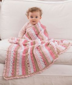 Be My Baby Blanket Free Crochet Pattern in Red Heart Yarns