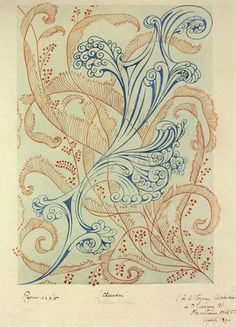 ¤ 'Claudia' textile design by C F A Voysey, produced in 1890 (England)