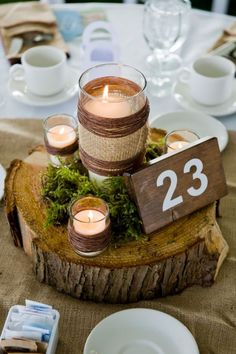 rustic wedding table numbers, tree trunk, burlap,...