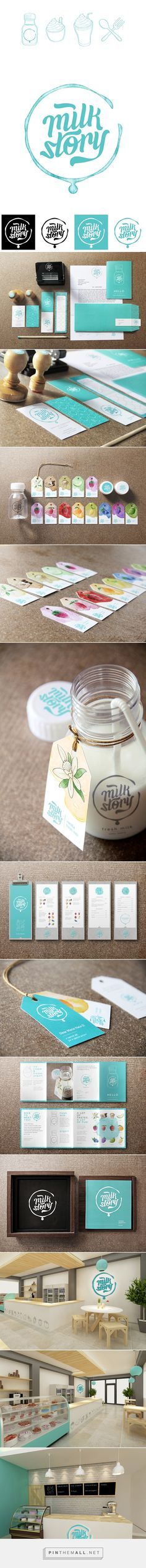 Milk Story Brand Identity on Behance - created on Corporate Design, Brand Identity Design, Graphic Design Branding, Web Design, Brand Packaging, Packaging Design, Portfolio Design Grafico, Vintage Logo, Design Poster