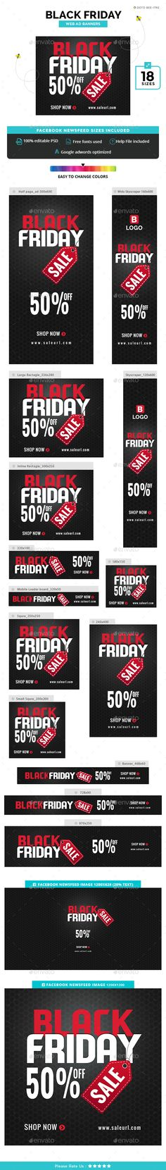 Black Friday Banners Ads Design Template - Banners & Ads Web Elements Design template PSD. Download here: https://graphicriver.net/item/black-friday-banners/18921513?ref=yinkira