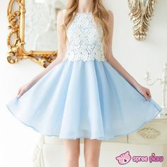 [S-XL] Blue Soft Spring Afternoon Dress SP151813 - Thumbnail 1