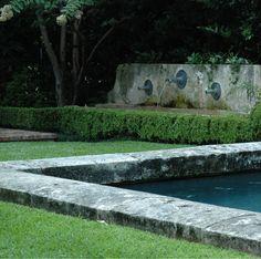 concrete edge, patina fountain