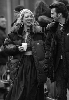 Billie Piper and David Tennant filming