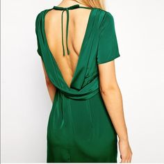 Asos pencil dress with cowl back Asos pencil dress with cowl back. Size 8. Beautiful green. Worn ONCE. In excellent condition. ASOS Dresses Midi