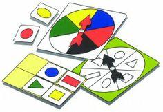 Het spel bestaat uit een vormen draaischijf, een kleuren draaischijf en speelkaartjes met een combinatie van deze 2. In de eenvoudige versie gebruik je 1 van de draaischijven, bijvoorbeeld kleur, Dan moet je alle kaartjes met die kleur bij elkaar zoeken.  Om het moeilijker te maken gebruik je beide draaischijven. Dan moet je het kaartje vinden dat de juiste kleur en de juiste vorm heeft. Daar is er maar 1 van.