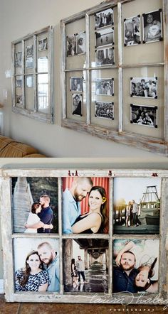 18 creative ways to transform family photos into stylish gifts and decor, from easy DIY canvas photo prints, to photo wreaths, luminaries, and more! *** Details can be found by clicking at the image Home Improvement Projects, Home Projects, Old Window Projects, Old Window Ideas, Decor With Old Windows, Display Family Photos, Family Photos On Wall, Hanging Family Photos, Family Wall Decor